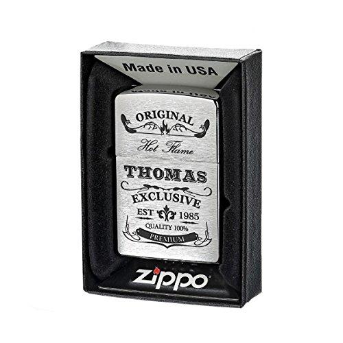 Zippo Tormenta mecheros cepillado de gasolina con caja de regalo (Incluye grabado Diseño original de Exclusive
