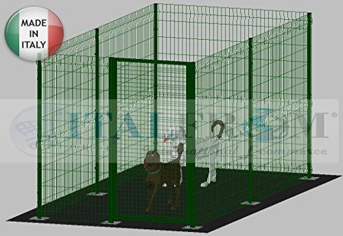 ITALFROM Enclos modulaire pour Chiens en Fer galvanisé et Verni Vert avec poteaux à tapissier - 200 x 400 x 172 h cm