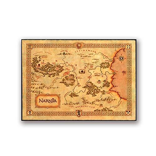 artaslf Narnia Map Poster Chroniken von Narnia Prints Vintage Style Fantasy Maps Kunst Bild Leinwand Malerei Home Room Decor Wanddekoration- 40x50cm ungerahmt