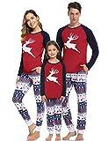 Hawiton Pijamas Navidad para Familias Pijama Mujer Hombre Niños Niña Invierno de Manga Larga Pijama Hombre Navidad Ropa de Dormir para Mamá Papá Niños
