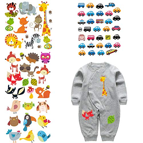 ARTEM Patches for Kids Clothes Washable Heat Transfer Iron Stickers Appliques Lovely Cartoon Animal Car Patch DIY Baby T-Shirt,Dress 4 Set