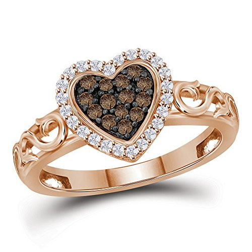 Sonia Jewels Size 11-10k Rose Gold Round Chocolate Brown Diamond Heart Love Ring (1/4 Cttw)
