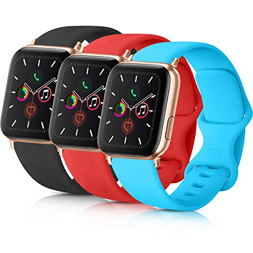 Pack 3 Compatible with Apple Watch Band 38mm 40mm 42mm 44mm, Soft Silicone Band Replacement for Apple iWatch Series 4, Series 3, Series 2, Series 1 (Black/Orange Red/Teal, 38mm/40mm-S/M)