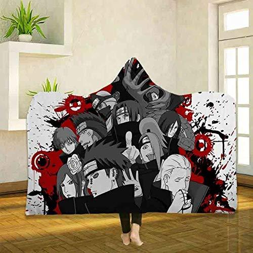 Anime Naruto Impresión 3D Uchiha Shippuden Sherpa Manta Mantas de cama de lana con capucha Mantas sólidas de microfibra reversibles y esponjosas cálidas para cama y sofá Color A_150*200cm