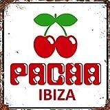 Placa de metal para pared de publicidad vintage, grande, cuadrada, 20 x 20 cm, diseño de Pacha Ibiza Club Holiday Music Hotel