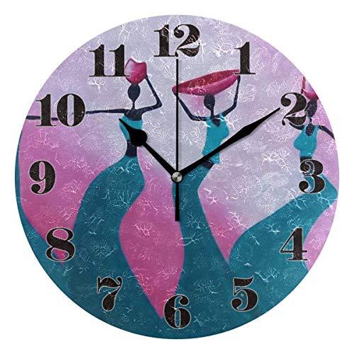 GOSMAO 25cm (9.8') Redondo Reloj de Pared Silencioso No Tick Tack Ruido Reloj de Pared Mujeres africanas