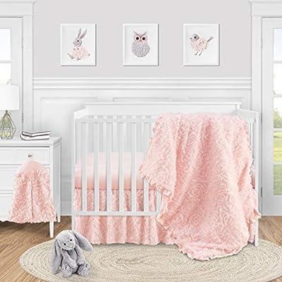 Sweet Jojo Designs Pink Floral Rose Baby Girl Nursery Crib Bedding Set - 4 Pieces - Solid Light Blush Flower Luxurious Elegant Princess Vintage Boho Shabby Chic Luxury Glam High End Ruffle Roses