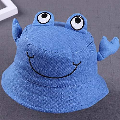 Gorra De BeisbolSombrero De Algodón para Niños De Dibujos Animados Bordado Cangrejo Encantador Bebé Niño Niña Princesa Cuenca Sombrero Lindo Bebé Pescador Sombrero Impresiones Sombrero Azul