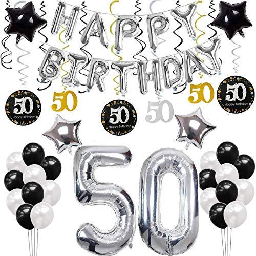 SANCUANYI 50 Geburtstag Dekoration, Silber und Schwarz Deko 50. Geburtstag, Happy Birthday Ballons Banner für Männer und Frau