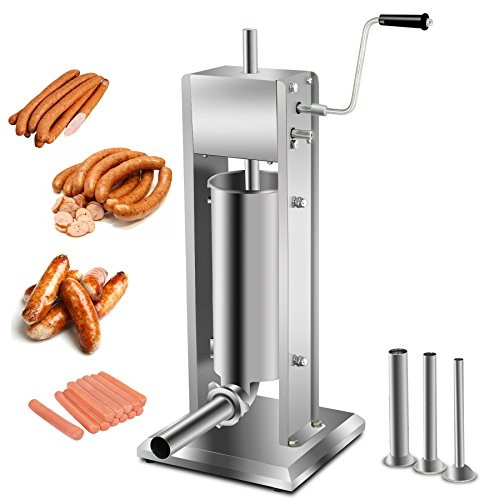 Super Deal 5L Stainless Steel Vertical Sausage Stuffer, 11LB Two Speed Meat Mince Maker w/4 Stuffing Tubes, Meat Grinder, Restaurant Meat Pork Filler