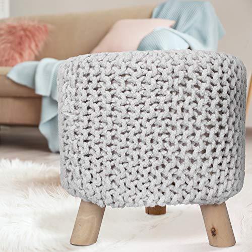MyShop24h Sitzhocker Sitzpouf Fußhocker Holzfüßen Baumwollüberzug Handarbeit Strick-Design Elfenbein