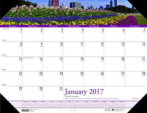 "House of Doolittle 2017 Monthly Desk Pad Calendar, Earthscapes Gardens, 18.5 x 13"" (HOD1746-17)"