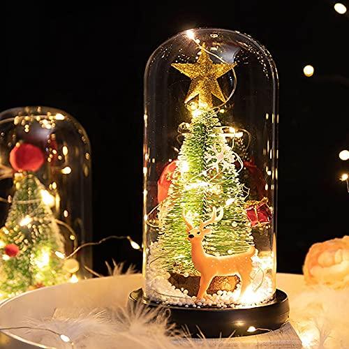 Albero Natale in Miniatura Decorazioni Natalizie in Miniatura Neve Artificiale Gelo Alberi Abete Rosso Con Mini Ornamenti Natalizi in Cupola Vetro Con Luci A LED Per Decorazioni Natalizie Fai,C