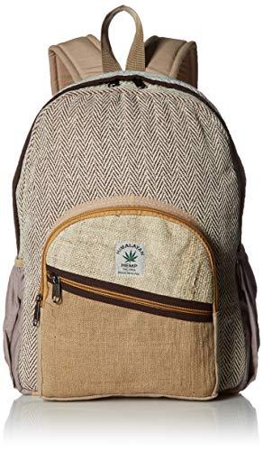 Zaino 100% canapa naturale di colore naturale fatto a mano in Nepal con custodia per computer portatile – alla moda carino viaggio scuola scuola scuola scuola borsa a tracolla