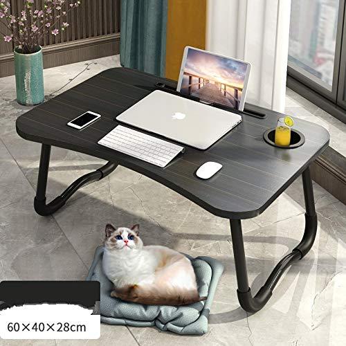 Mesa de cama para ordenador portátil, bandeja de desayuno con patas plegables, escritorio portátil de pie, soporte de lectura para sofá o suelo, para niños, Fullcolornegro+ranura + portavasos
