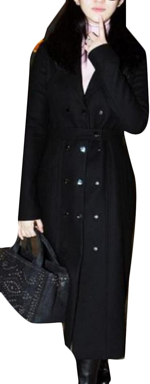 GAGA Women's Winter Double Breasted Long Woolen Coat Trench