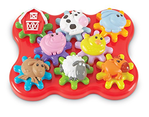 Learning Resources Build & Spin: Farm Friends, Fine Motor Toy, 17 Piece Set, Ages 2+