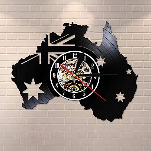 BFMBCHDJ Flagge von Australien Schallplatte Wanduhr Patriotische Wandkunst Australien Landkarte Vintage Uhr Uhr Australien Reise Souvenir