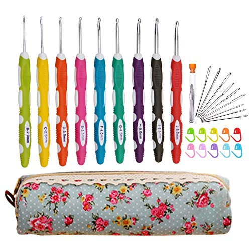 Ergonomic Crochet Hooks with Long Comfortable Handle, 30pcs Crochet Hooks Set with Case & Accessories