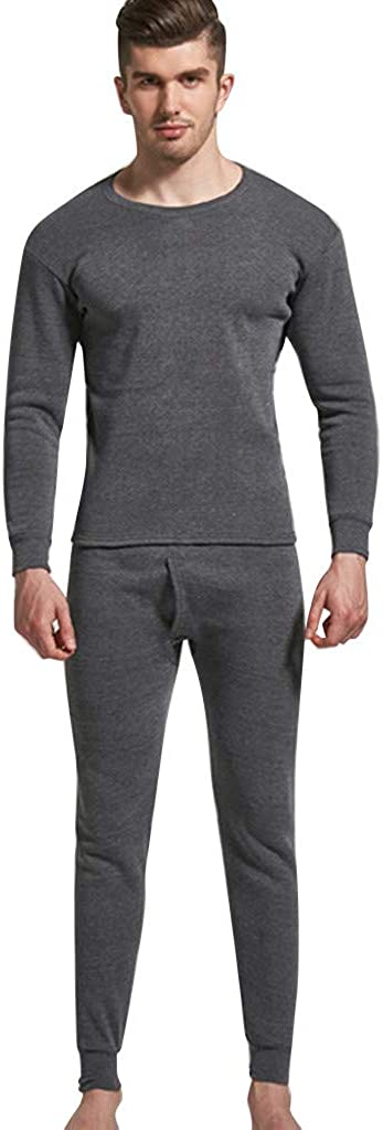 aihihe Mens Long Thermal Underwear Fleece Lined Winter Base Layering Set Keep Warm Sleepwear Tops Pants Underwear Set