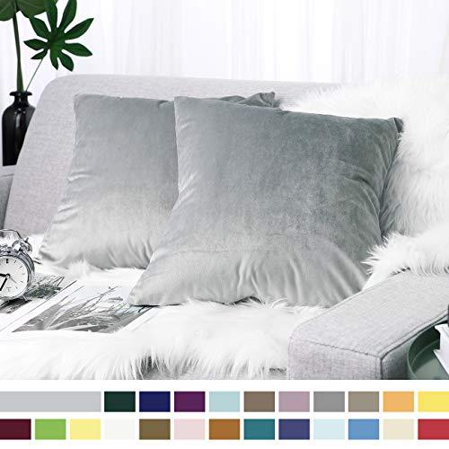 Lewondr Samt Kissenbezug 45x45cm, 2-Set Sanft Einfarbige Moderne Quadratische Kissen Hülle Zierkissenbezüge für Weihnachten Deko, Wohnzimmer, Sofa, Schlafzimmer, Auto, Nebel grau