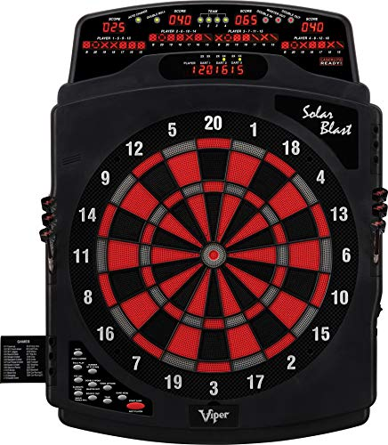 Viper Solar Blast Electronic Dartboard Deluxe Size Over 55 Games Overhead 4-Panel Auto-Scoring LCD Cricket Display with Impact-Tough Nylon Target for...