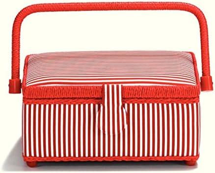 Prym Stripe Print Max 65% OFF Small Washington Mall Craft Basket Storage White Red