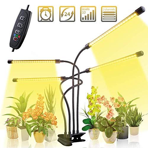 CXhome Led-plantenlamp, 40 W, 80 leds, volledig spectrum, plantenlamp met timer, 3 H/9H/12 uur, groeilamp, plantenverlichting voor kamerplanten, tuinwerk