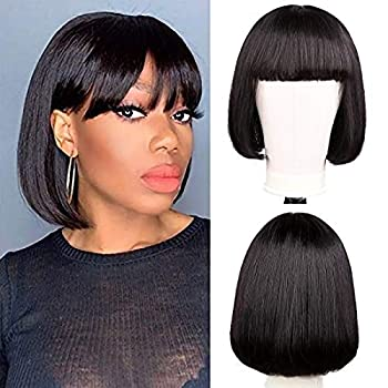 Human Hair Wigs With Bangs Short Bob Wig 8 Inch Straight Hair Brazilian Hair Wigs Natural Color No Lace Human Hair Wigs For Black Women Machine Made Wigs With Bangs
