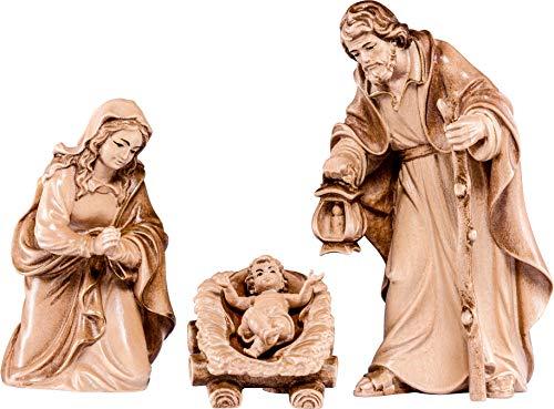 Ferrari & Arrighetti Nacimiento de 9 cm con Jesús, la Virgen y San José, de Madera Encerada - Belén Tirolés Demetz Deur