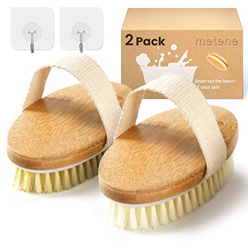 Metene Dry Brush, 2 Pack Dry Brushing Body Brush with Soft and Stiff Natural Bristles, Body Exfoliating Scrub Brush for Cellulite and Lymphatic, Improve Your Circulation, Dry Body Brush for Massage