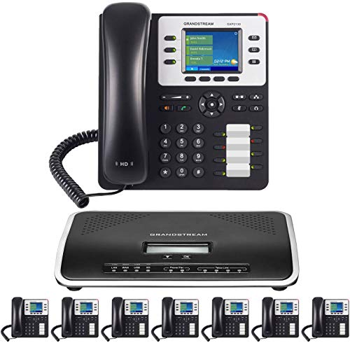 Business Phone System by Grandstream: Enhanced Pack with Auto Attendant, Voicemail, Cell & Remote Phone Extensions, Call Recording & Free Mission Machines Phone Service for 1 Year (8 Phone Bundle)