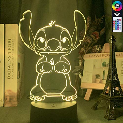 BJClight 3D Illusion Lamp Led Night Light for Kids Cartoon Cute Stitch Baby Colorful for Kids Bedroom Decor USB Table Lamp Stitch Dog Gift