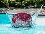 casamia Premium Pouf waschbar Strickhocker Sitzpouf Sitzpuff 100% wasserfest Sitzhocker Bodenkissen Sitzgelegenheit Grobstrick-Optik Ø 55 x 37 cm EXTRAGROSS Farbe Bordeaux - Amaranth
