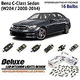 ZPL5041 -(16 Bulbs) Deluxe LED Interior Light Kit 6000K Xenon White Dome Light Bulbs Replacement for 2008-2014 Mercedes-Benz C-Class (W204) Sedan