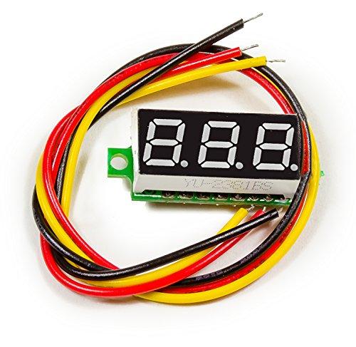 3pin Mini Digital voltímetro Rojo 3X 1CM 2,5–30V para Arduino prototipos Raspberry Pi