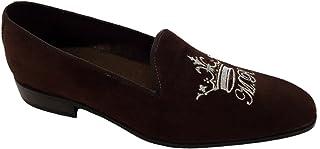 Mocassini Slippers in camoscio con Ricamo Personalizzato