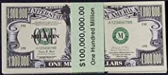 Printed on a high quality printing press -- not a photo copy. Looks and feels like real money. The million dollar bills that get the WOW response. Hand out at trade shows, on sales appointments & with sales letters. For entertainment purposes only. T...