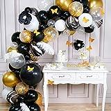 PartyWoo Ballon Noir et Or, 98 pcs Plume, Fleurs en Papier Noir, Papillon en Papier Doré, Ballon Or et Noir, Ballon Blanc, Ballon Transparents, Ballon Marbre, Ballon Confettis Or pour 1920s Party