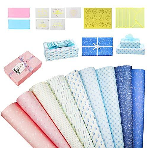 Geschenkpapier Recycling Papier und Tags, AmzKoi Geschenkpapier in 8 Verschiedenen Mustern Retro Weihnachtspapier (Himmelblau)