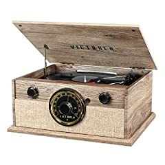 """Belt Driven, 3-speed Turntable (33 1/3, 45, 78 RPM) plays all of your favorite vinyl records Classic FM radio with analog tuner and """"around the dial"""" Led lighting Wirelessly stream music from your Bluetooth enabled device, up to 33 feet away Features..."""