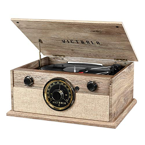 Victrola 4-in-1 Cambridge Farmhouse Modern Bluetooth...