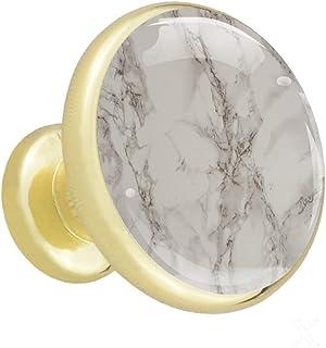 Textura de mármol Tiradores de gabinete de cocina de metal sólido redondo dorado con vidrio de para la puerta del cajón ap...