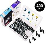 Kabelschelle Nagelschelle Schwarz Kabel Nagel 400 stück Größen 4mm 6mm 8mm 10mm,Mit tragbarer PP Box (je Größe 100 Stück)