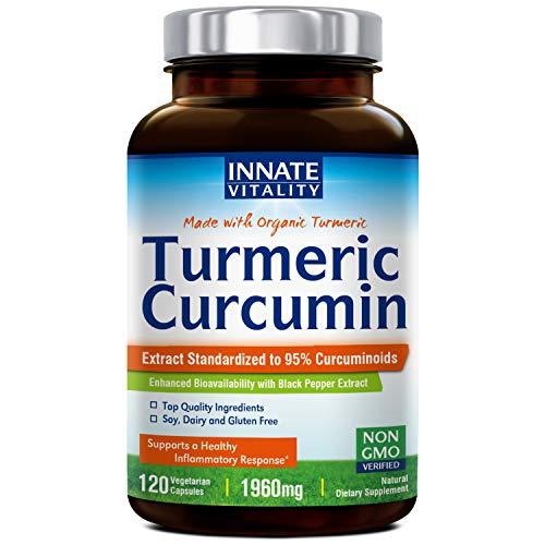 Organic Turmeric Curcumin with BioPerine, 95% Standardized Curcuminoids, 1960mg per Serving, 120 Veggie Caps, Non-GMO,Gluten Dairy & Soy Free, Anti-Inflammatory,Pain Relief & Joint Support
