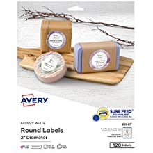 Use Avery glossy, white round labels to create elegant looking thank you gifts -- easily personalize bottle labels, wine labels, mason jar labels, canning labels, and more using the free online templates found at Avery.com/templates Avery's Sure Feed...