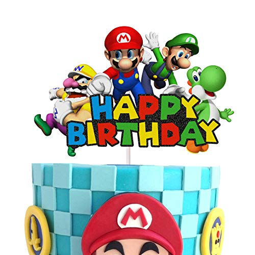 Super Mario Happy Birthday Cake Topper Kids Birthday Party Decoration Video Game Theme Party Decoration Suppliers