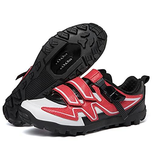 DSMGLSBB Zapatillas De Ciclismo para Hombre, Zapatos para Montar En Bicicleta De Carretera Taco Transpirable con Hebilla SPD Compatible Fondo De La Montaña,Rojo,46