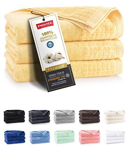 ZWOLTEX Himmlisch weiche Handtücher aus 100{5f6e1389c36ab15d21e24e662b2a6dd84a1bfa9e90a36261fe593a13b2f108bc} Ägyptischer Baumwolle I Made IN EU I Gästehandtücher Ultra-Soft Duschtuch Badetuch - 3er Handtuch Set Gelb
