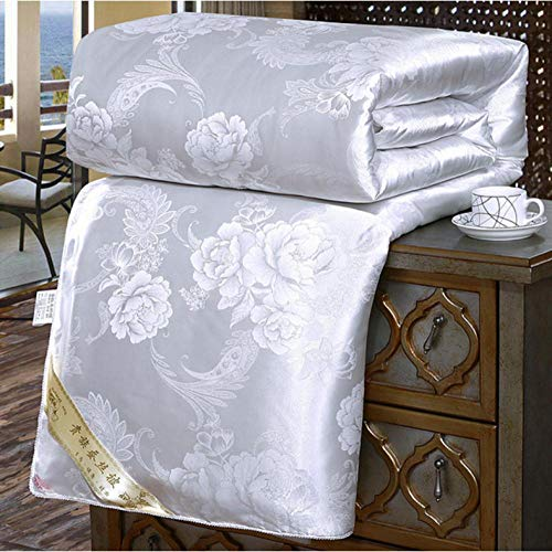 Winter Thicker Warm Quilt Mulberry Silk Comforter/Blanket/Duvet King Queen Size bedding Solid color Jacquard-White__180X220CM/4KG